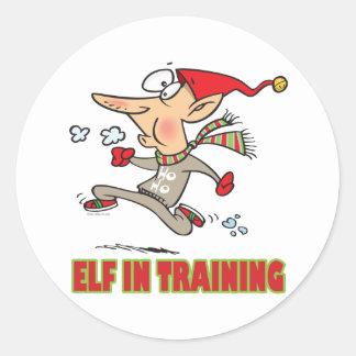 funny silly santa elf in training jogging cartoon classic round sticker