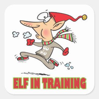 funny silly santa elf in training jogging cartoon square sticker