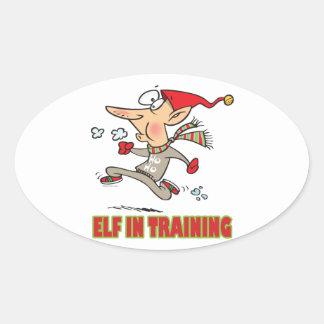 funny silly santa elf in training jogging cartoon oval sticker
