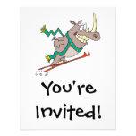 funny silly ski jump rhino cartoon personalized invitation
