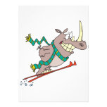 funny silly ski jump rhino cartoon custom announcements