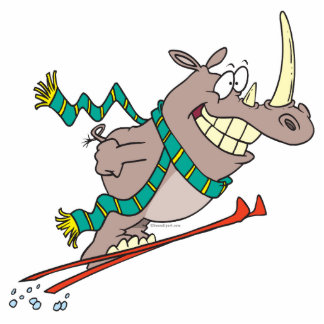 funny silly ski jump rhino cartoon photo sculptures