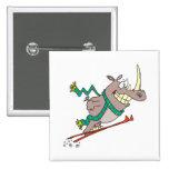 funny silly ski jump rhino cartoon pins
