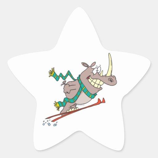 funny silly ski jump rhino cartoon star sticker