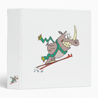 funny silly ski jump rhino cartoon vinyl binder