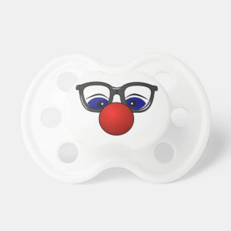 Funny Simple Clown Face Just Red Nose Eyes Glasses Pacifier
