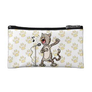 Funny Singing Cat Cosmetic Bag / Yellow Paw Print