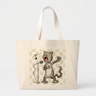 Funny Singing Cat Jumbo Tote Bag Yellow Paw Print