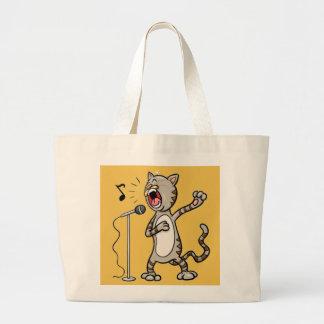 Funny Singing Cat Jumbo Tote Bags / Yellow