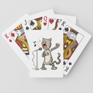 Funny Singing Cat Playing Cards / White