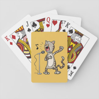 Funny Singing Cat Playing Cards / Yellow