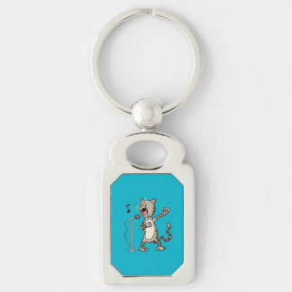 Funny Singing Cat Rectangle KeyChain / Blue Silver-Colored Rectangle Keychain
