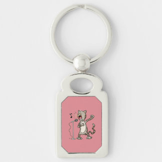 Funny Singing Cat Rectangle KeyChain / Pink Silver-Colored Rectangle Keychain