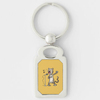 Funny Singing Cat Rectangle KeyChain / Yellow Silver-Colored Rectangle Keychain