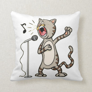 Funny Singing Cat Throw Pillow / White