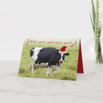 Funny Singing Christmas Cow Card