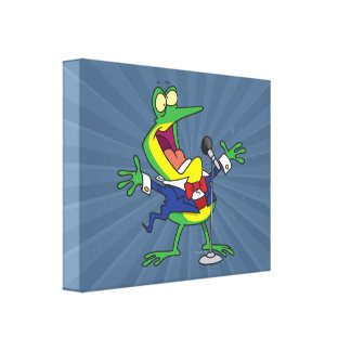 funny singing froggy frog cartoon stretched canvas print