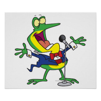 funny singing froggy frog cartoon posters