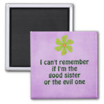 Funny Sister Quote 2 Inch Square Magnet
