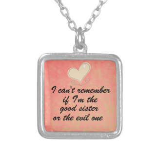 Funny Sister Quote Square Pendant Necklace