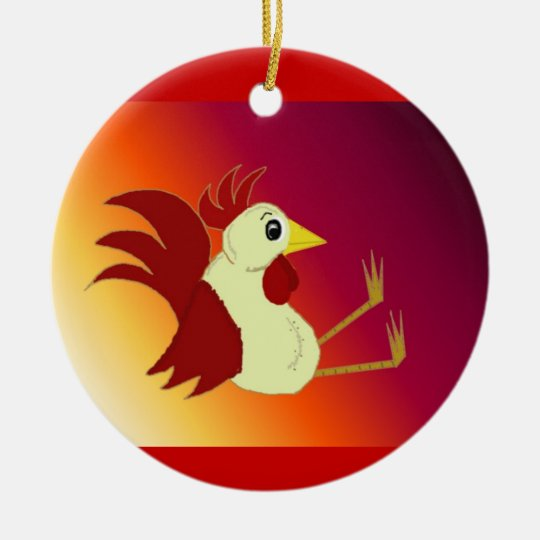 Funny Sitting Cartoon Rooster Ceramic Ornament