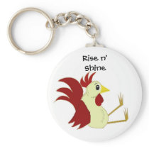 Funny Sitting Rooster Keychain