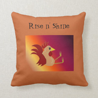 Funny Sitting Rooster - Rise and Shine Throw Pillows