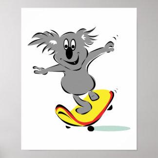 funny skateboarding koala bear poster