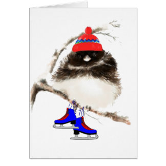 Funny Skating Chick, Cute Sport Bird Greeting Card