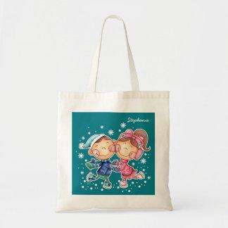 Funny Skating Kids Christmas Gift Tote Bags
