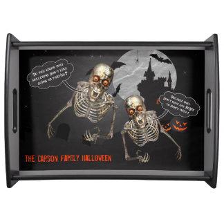 Funny Skeleton Comdedian   Custom Halloween Serving Tray