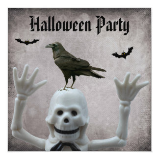 Funny Skeleton & Crow Damask Halloween Party Card