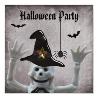 Funny Skeleton Damask Halloween Party Card