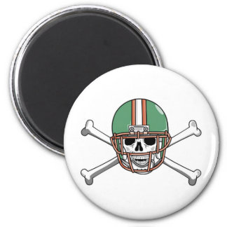 funny skeleton football 2 inch round magnet