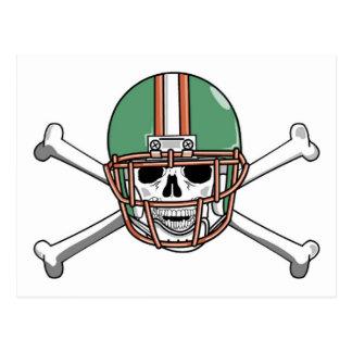 funny skeleton football postcard