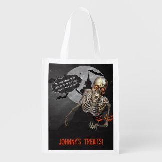 Funny Skeleton Halloween   Custom Treat Bag Reusable Grocery Bags