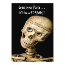 Funny Skeleton Halloween Party Invitation