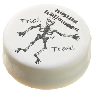 Funny Skeleton Happy Halloween Chocolate Dipped Oreo
