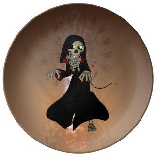 Funny skeleton porcelain plates