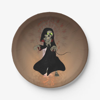 Funny skeleton 7 inch paper plate