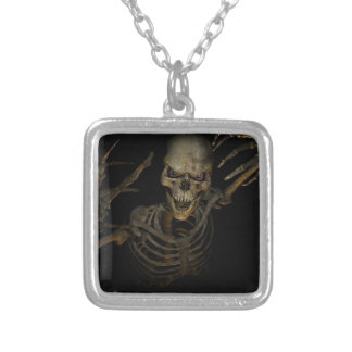 Funny Skeleton Silver Plated Necklace