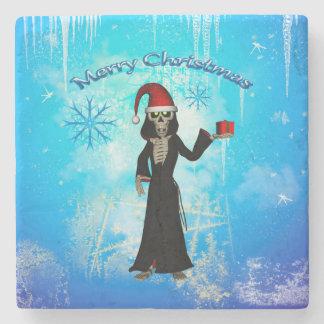 Funny skeleton stone coaster