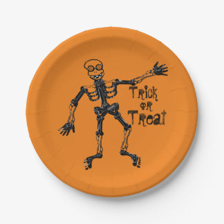 Funny Skeleton Trick or Treat Paper Plate