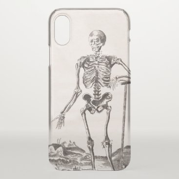Halloween Themed Funny Skeleton with Shovel Antique Anatomy iPhone X Case