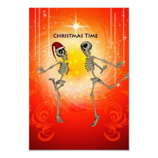 Funny skeletons 3.5x5 paper invitation card