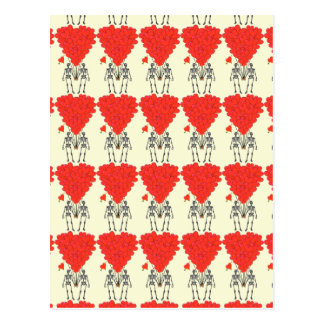 Funny skeletons and love heart Valentines Post Cards