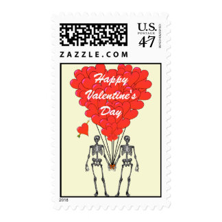 Funny skeletons gothic Valentine's Stamp