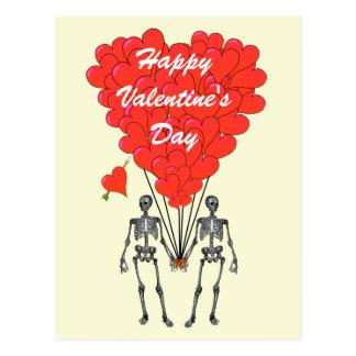 Funny skeletons & love heart Valentines Postcards