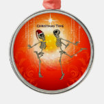 Funny skeletons round metal christmas ornament