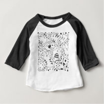 Funny sketchy dancing cats doodle pattern baby T-Shirt